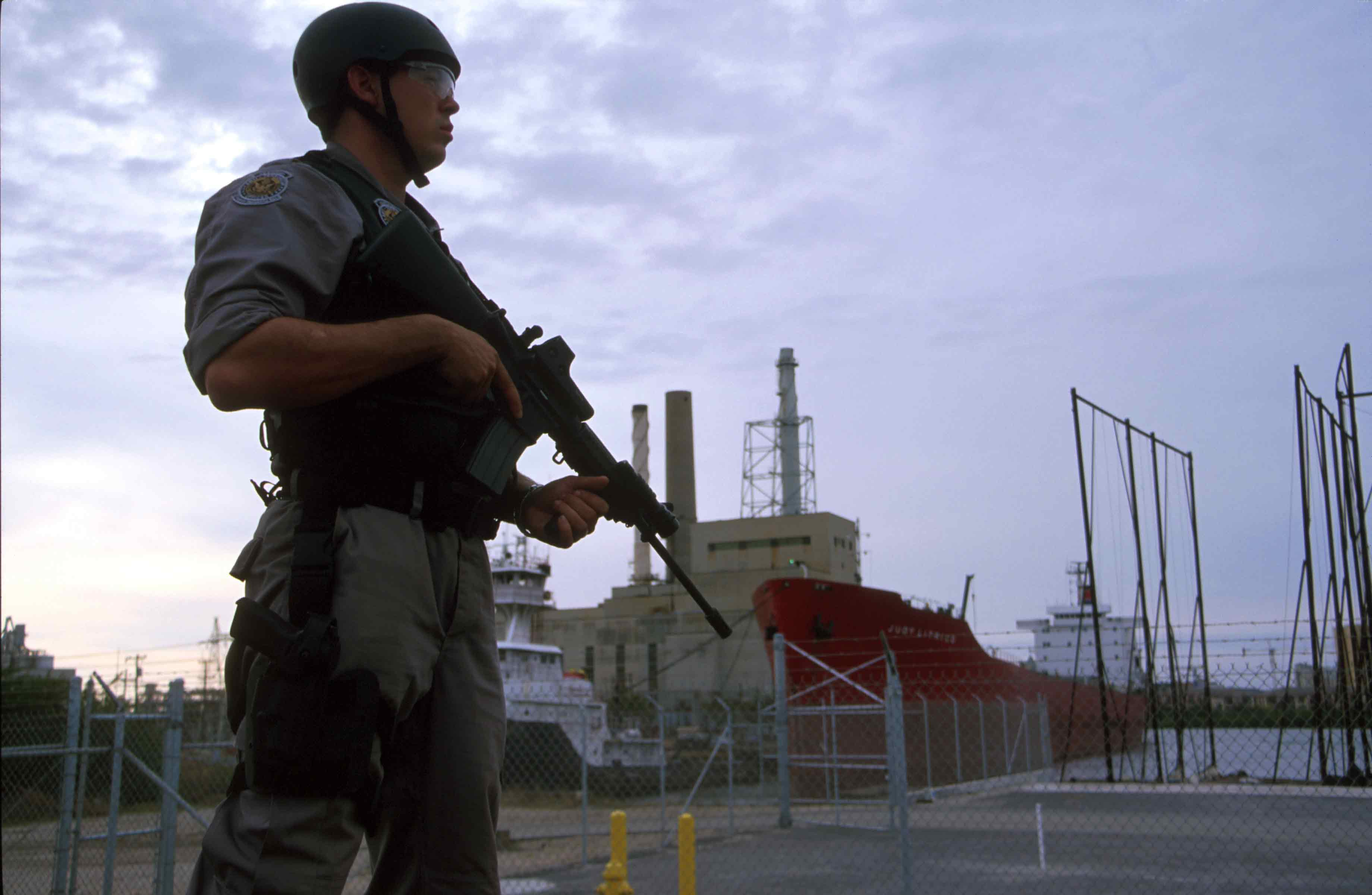 Critical Infrastructure Security Anti-terrorism Officer protecting port