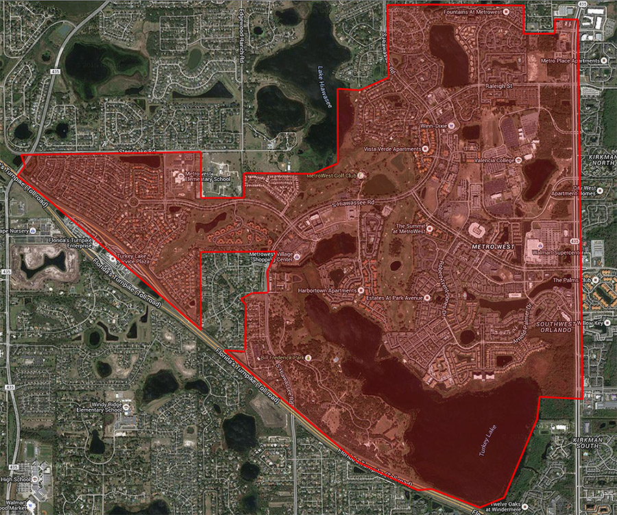 Map of MetroWest Orlando